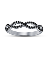 Round Black Sim Diamond 925 Silver White Gold Plated Women's Infinity Ba... - $59.51