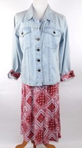 DENIM & CO Women's 2-Pc Outfit Denim Shirt Jacket Mid-Calf Length Skirt ... - $29.69