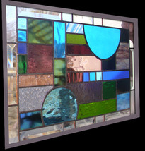 Stained Glass Window Panel Abstract Geometric quilt Blue Green Purple Tu... - $193.00