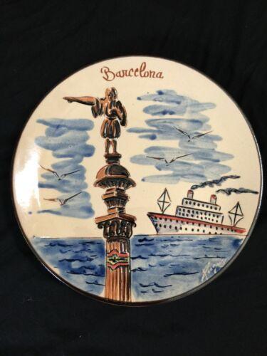 Vintage Barcelona Spain Ceramic Signed Plate Souvenir Collectible Plate Decor