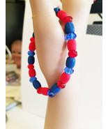 blue red beaded bracelet stretch acrylic glass bead jewelry handmade - $4.99