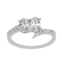 925 Sterling Silver Oval Cut Natural Zircon Gemstone Bypass Ring - $7.72