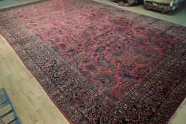 Red Sarouk Persian Wool Handmade Rug 11' x 18' Vivid Red Detailed Original Rug image 11
