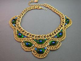 VTG Brania Bib Necklace Mimi Di N Collar Parue Blue Rhinestones Peacock Eye Cabs image 5
