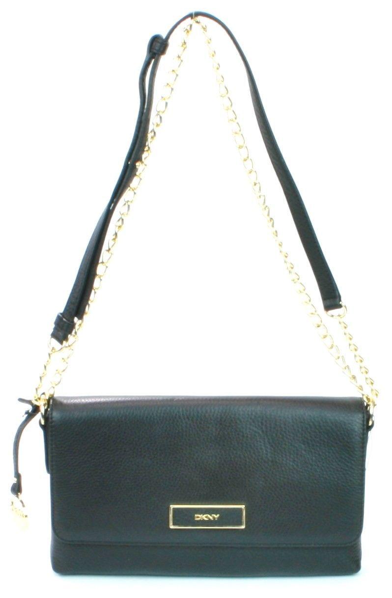 DKNY Donna Karan Black Leather Shoulder Bag Handbag Small