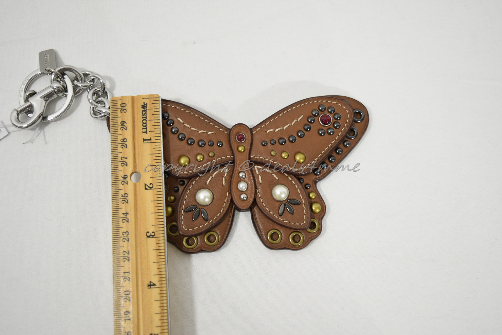 Coach F58996 /F58997 Studded Leather Butterfly Keyring/Key-Clip/ Bag Charm Brown image 13