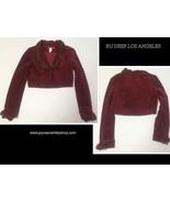 Bu Deep Los Angeles Faux Suede Crop Jacket Beaded Collar Maroon Red Sz S... - $14.99