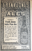 1909 Boston Newspaper Page - Frank Jones Portsmouth India Pale Ale Beer Ad - $9.99