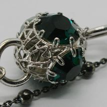 925 STERLING SILVER DOUBLE BRACELET WITH GREEN WORKED LANTERN, BURNISHED CHAIN image 4