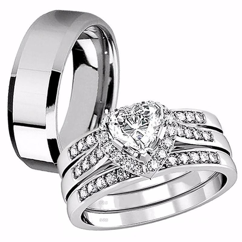 Primary image for 4 Pcs Her Sterling Silver Heart CZ His Tungsten Engagement Wedding Ring Band Set