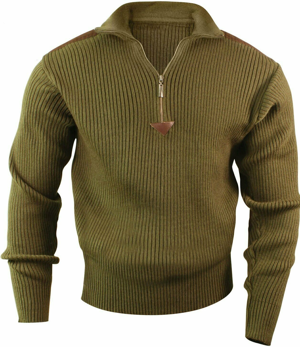 Primary image for Olive Drab Acrylic Commando Military Quarter Zip Sweater with Suede Patches