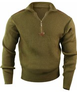 Olive Drab Acrylic Commando Military Quarter Zip Sweater with Suede Patches - $36.99+