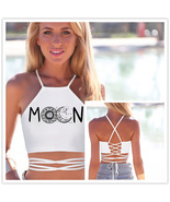 Woman Sun Moon Boho Strappy Shirts Female Horoscope Sexy Corset Top Halt... - $17.89