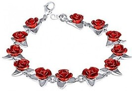 U7 Women Girls Cute Platinum Plated Link Red Rose Flower Charm Bracelets - $29.15