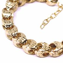 18K ROSE GOLD BRACELET, BIG ROUNDED DIAMOND CUT OVAL DROPS 6 MM, ROUNDED image 3