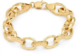 14k-Yellow-Gold-Plated-Bronze Hammered Link Bracelet, 7.50 Inch By Roberto - $82.25