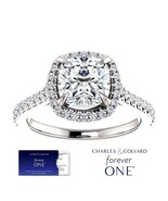 2.20 Carat Cushion Moissanite (ForeverOne) Halo Style Ring in 14K Gold - $1,695.00