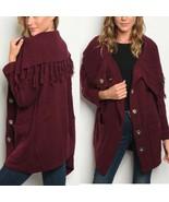 Burgundy Knit Cardigan Sweater Large Snap Closures Fringe Sz Small Fits 6-8 - $37.99