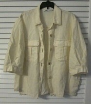 ZARA short sleeve boxy safari button down short sleeve shirt ivory off w... - $17.80
