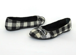 American Eagle Black White Plaid Flat Ballet Shoes 9.5 Checkered Slip On Comfort - $14.84