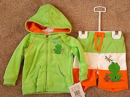 NWT Boy's Size 6-9 M Months Absorba 2 Pc Green Terry Frog Jacket & Swim Trunks - $25.00