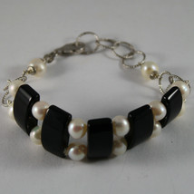 .925 RHODIUM SILVER BRACELET WITH BLACK ONYX AND WHITE PEARLS image 1
