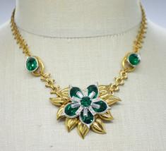 Green Clear Rhinestone Flower Gold Tone Choker Pendant Necklace Vintage - $79.19