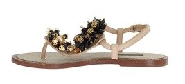 New $950 Dolce & Gabbana Women Beige Leather Crystal Floral Sandal Sz EU39 US8.5 - $498.82