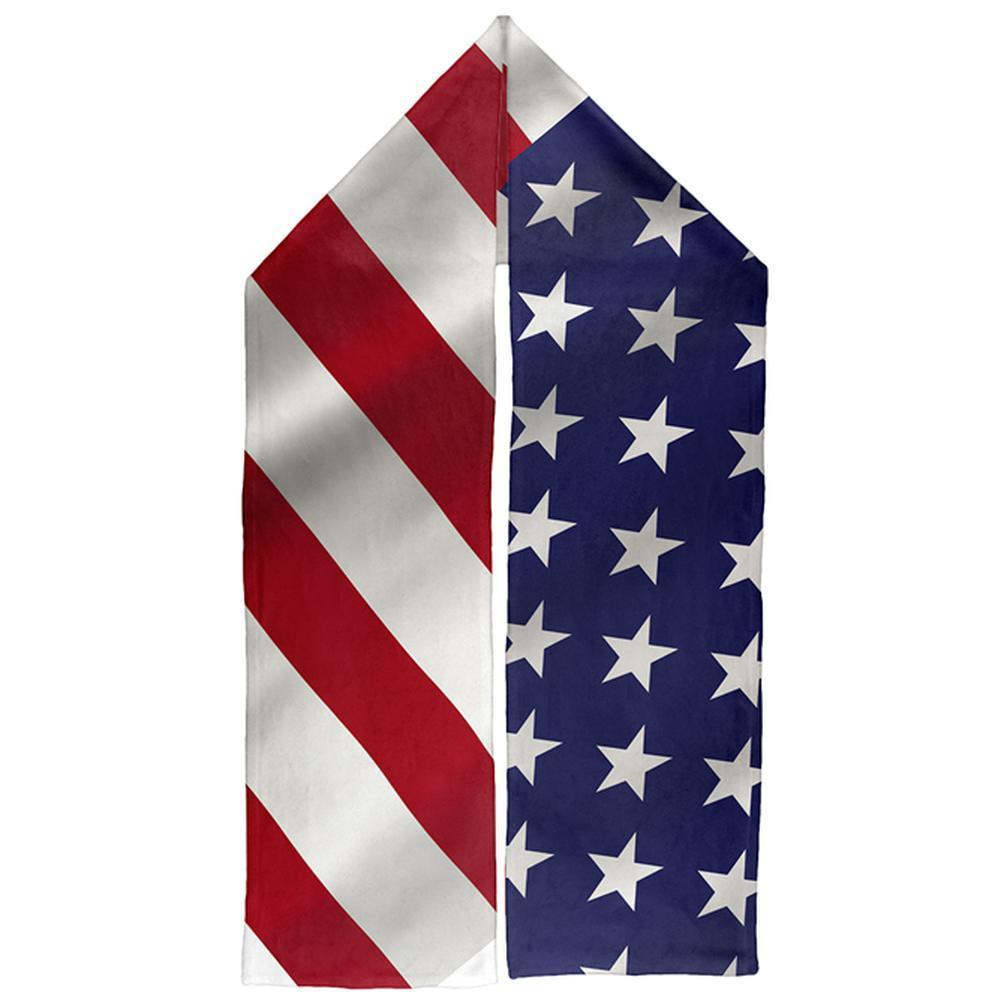 4th of July Patriotic Waving Flag Warm Fleece Scarf