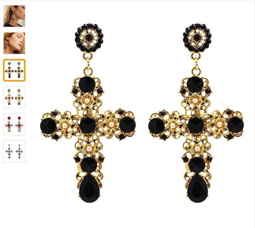 Vintage Crystal Cross Drop Earrings for Women Baroque Bohemian Large Long Earrin