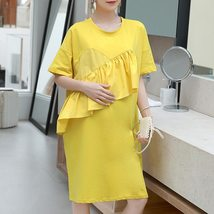 Maternity Dress Solid Color Ruffled Short Sleeve Fashion Knee Length Dress image 2