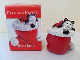 2006 Fitz and Floyd Kitty Claus Hand Painted Santa Hat & Cat Trinket Jew... - $19.16