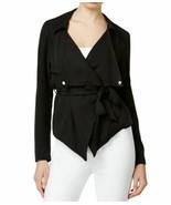 Bar III Women's Open-Front Asymmetrical Belted Moto Jacket Medium M Blac... - $22.50
