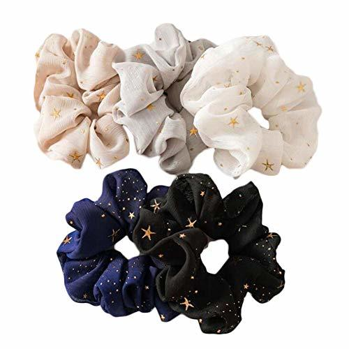 10 Pcs Chiffon Hair Scrunchies Stars Print Hair Bands Ponytail Holder Hair Elast