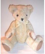 "Jointed Bear Vtg Mary Meyer 1994 Plush Cream Ivory 15"" Long w/ Bow Stuffed - $23.71"