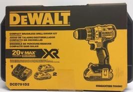 "(New) DEWALT 20V MAX XR 1/2"" 2.0Ah Brushless Compact Drill/Driver Kit DC... - $196.00"