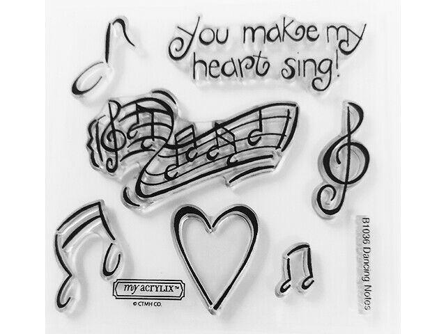 Close to My Heart Dancing Notes Clear Cling Acrylic Stamp Set #B1036