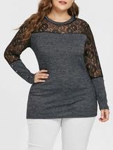 Plus Siz Lace Insert Marled Knitwear(GRAY 1X) - $18.55