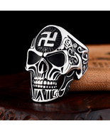 Swastika big size Punk Skeleton Stainless Steel Fashion Rings For Men Ae... - $8.64