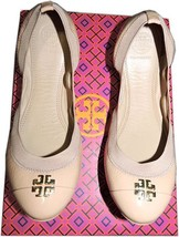 Tory Burch Jolie Ballerina Flats Nude Logo Minnie Reva Leather Ballet Sh... - $139.00