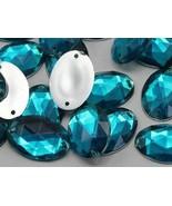 25x18mm Blue Aqua CH24 Oval Flat Back Sew On Gems For Craft 20 PCS - $4.95
