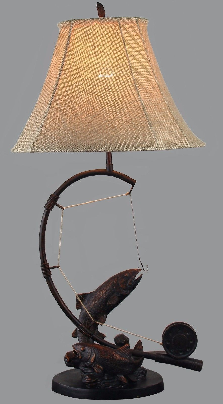 Fly Rod Trout Fish Table Lamp Fishing Rustic Cabin Lake Lodge Decor