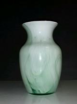 "Indiana Glass 8"" Vase #31007 Crystal Reverse Paint White w/Green Swirls - $7.43"