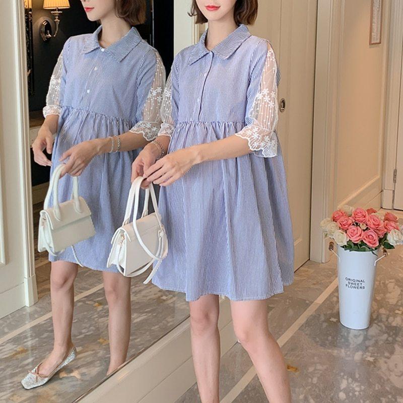 Maternity's Dress Turn Down Collar Stripe Short Sleeve Dress image 6