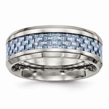 Men's 8mm Stainless Steel Blue Carbon Fiber Inlay Band - $69.99