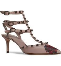 New Valentino Garavani Rockstud Rose Print T-Strap Pump Size 6 - £533.82 GBP