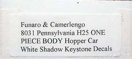 Funaro & Camerlengo HO PRR H25 Hopper Car ONE PIECE BODY Kit 8031 image 3