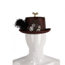 Cospty Carnival Party Steampunk Costume Gear Winder Feather Round Top Hat - €15,25 EUR