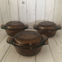 Vintage Anchor Hocking Fire King Amber Mini Casserole Dishes (Set Of 3) - $21.78