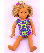 AMERICAN GIRL SHORT BLOND HAIR, BLUE EYES & FRECKLES GYMNASTIC BODY SUIT - $74.44